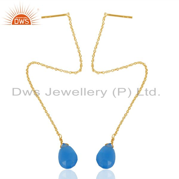 Blue Chalcedony Threaded Earring 14K Gold Plated 92.5 Sterling Silver Earring