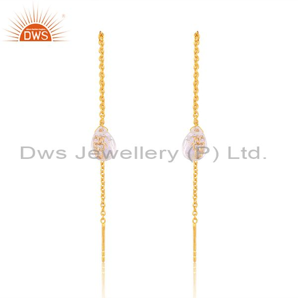 Crystal Quartz Long Chain Thread Earring Gold  Plated  Sterling Silver Jewelry