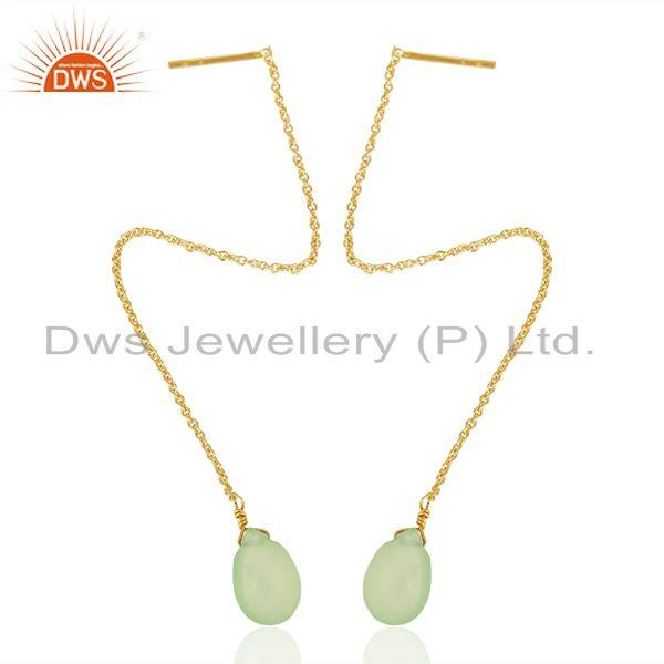 Prehnite Chalcedony Long Chain Thread Earring Gold  Plated  Silver Jewelry