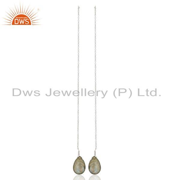 Labradorite Gemstone 925 Sterling Silver Chain Dangle Earrings Manufacturers