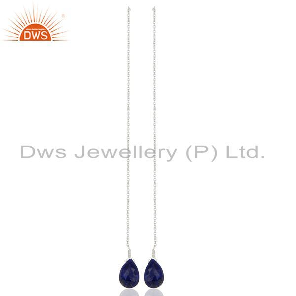 Lapis Dangle Sui Dhaga Pattern White Rhodium Plated Wholesale Silver Earring