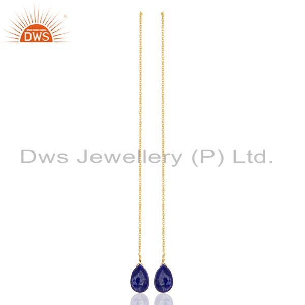 Lapis Long Chain Thread Earring Gold  Plated  Sterling Silver Jewelry