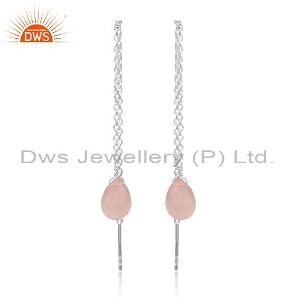 Rose Chalcedony Set Fine Silver Needle And Thread Earrings