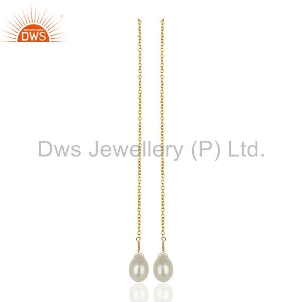 925 Sterling Silver Gold Plated Pearl Chain Earrings Manufacturer