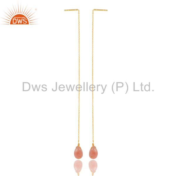 Pink Opal Long Chain Thread Earring Gold  Plated  Sterling Silver Jewelry