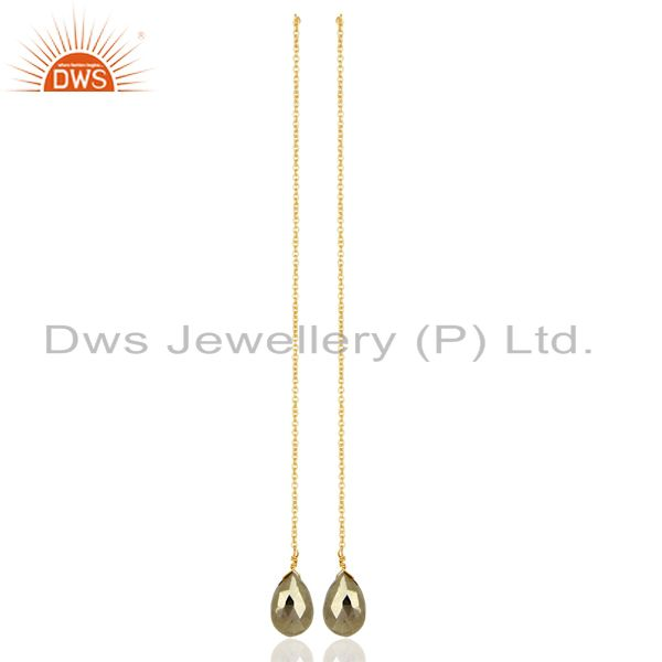 Pyrite Long Dangle Crossover 14K Gold Plated 92.5 Sterling Silver Earring
