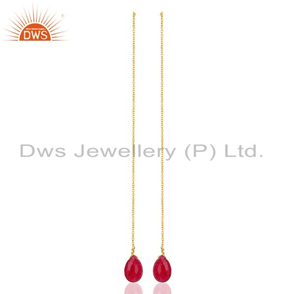 Red Ruby Gemstone 925 Silver Gold Plated Chain Earrings Manufacturer