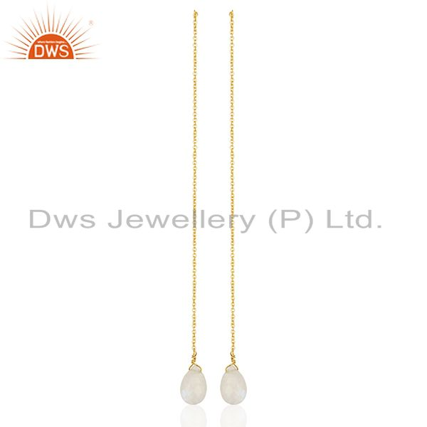 Rainbow Moonstone 925 Silver Gold Plated Chain Earrings Suppliers