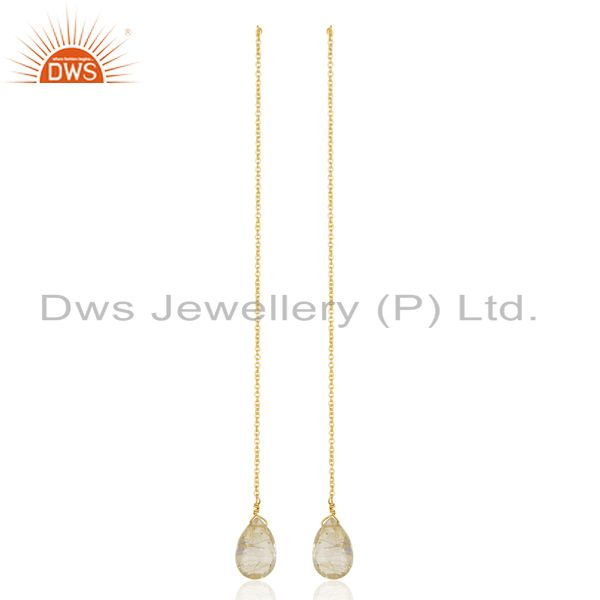 Golden Rutile Long Chain Thread Earring Gold  Plated  Sterling Silver Jewelry
