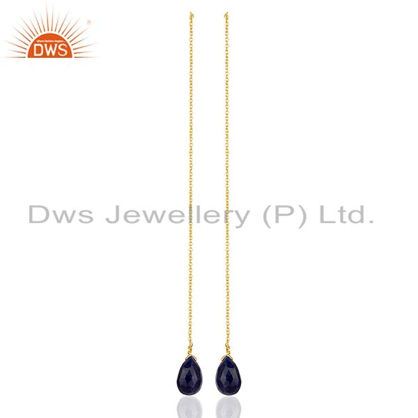 Handmade 925 Silver Gold Plated Gemstone Chain Earrings Supplier