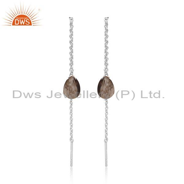 Pear Cut Smoky Set Gold On Silver Needle And Thread Earrings