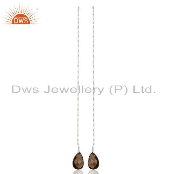 Smoky Dangle Sui Dhaga Pattern White Rhodium Plated Wholesale Silver Earring