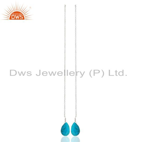 Turquoise Dangle Sui Dhaga Pattern White Rhodium Plated Wholesale Silver Earring