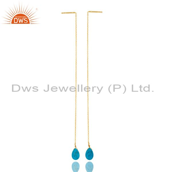 Turquoise Threaded Earring 14K Gold Plated 92.5 Sterling Silver Earring