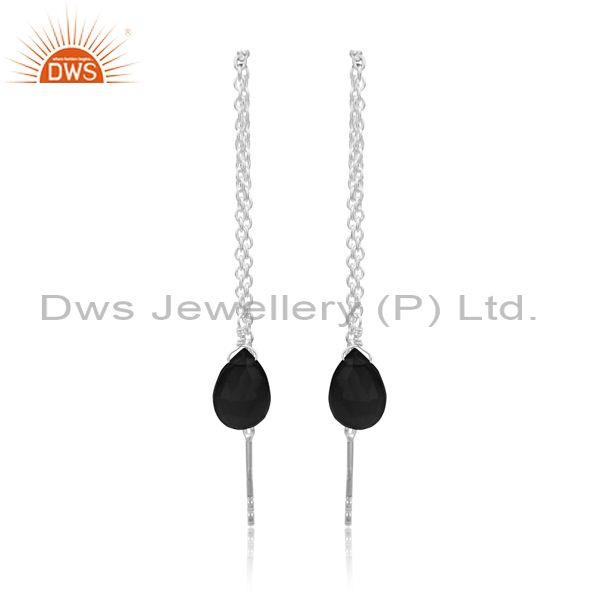 Black Onyx Set Fine 925 Silver Needle And Thread Earrings