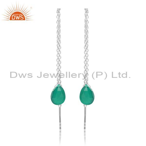 Green Onyx Set Fine 925 Silver Needle And Thread Earrings