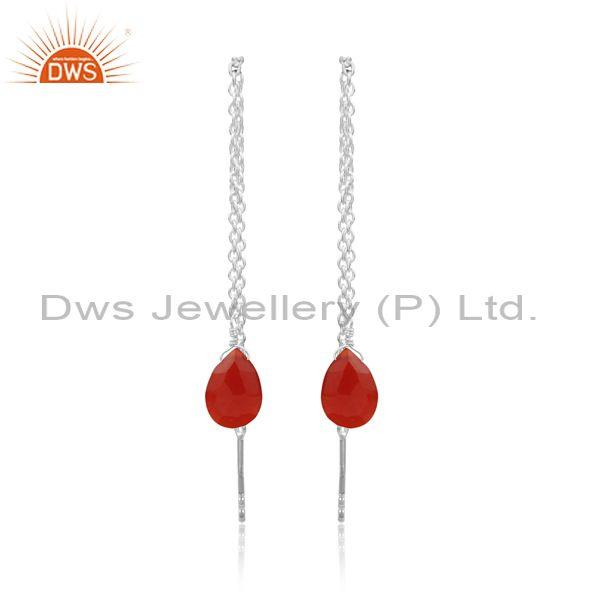 Red Onyx Set Fine 925 Silver Needle And Thread Earrings