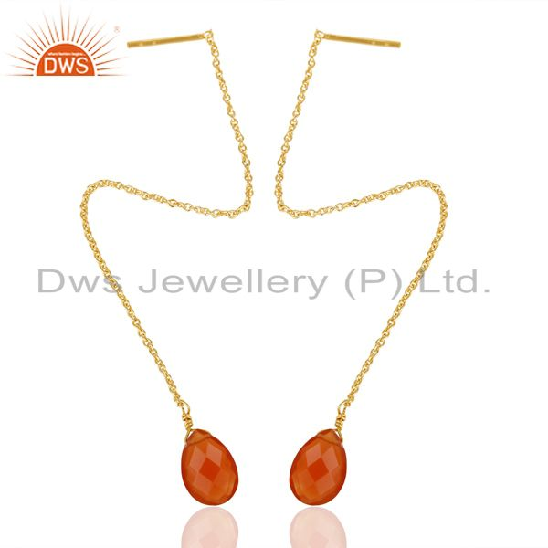 Natural Red Onyx Gemstone Earrings Gold Plated Chain Earrings Jewelry