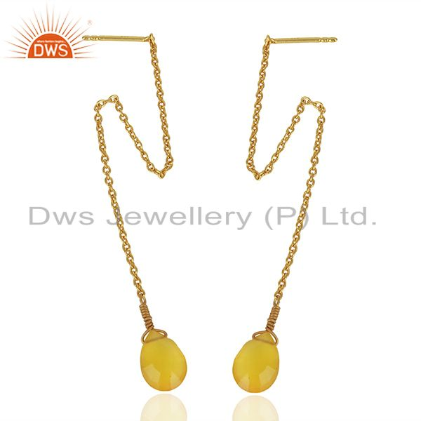 Yellow Chalcedony Gemstone Gold Plated Silver Chain Pendant Supplier