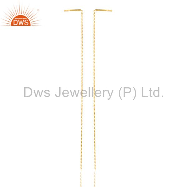 14K Yellow Gold Plated Sterling Silver Link Chain Dangle Earrings