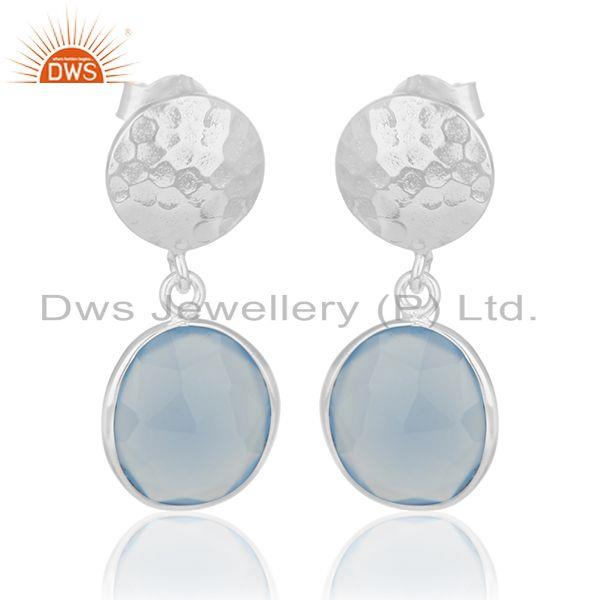 Handmade 925 Sterling Silver Blue Chalcedony Gemstone Earring Wholesale India