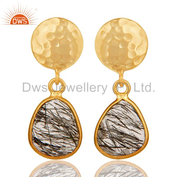 22K Yellow Gold Plated Sterling Silver Black Rutilated Quartz Bezel Set Earrings