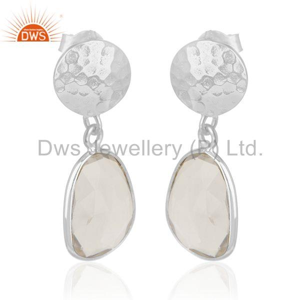 Crystal Quartz Sterling Silver Simple Earring Jewelry Manufacturer for Designers