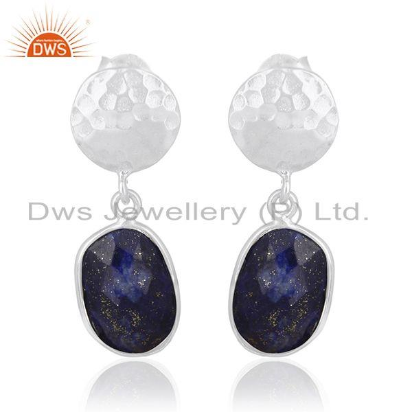 Lapis Lazuli Gemstone Silver Earrings Custom Jewelry Manufacturer for Designers
