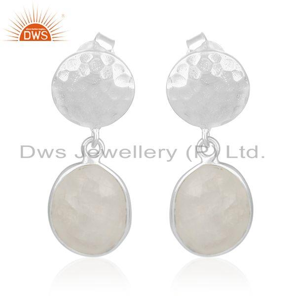 Rainbow Moonstone Silver Earrings Jewelry Manufacturer for Designers from India