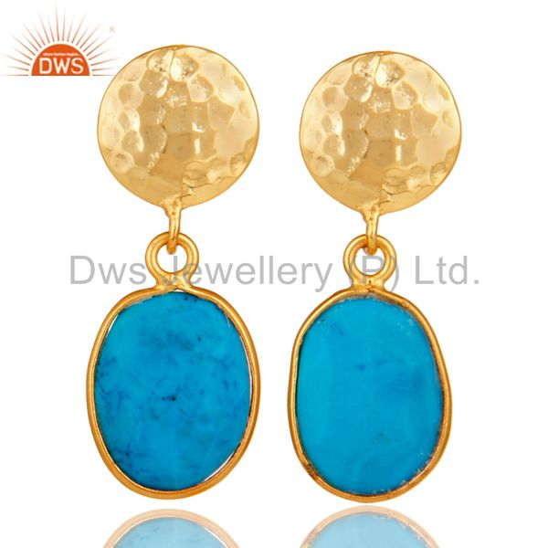 Yellow Gold Plated Sterling Silver Turquoise Cultured Bezel Set Dangle Earrings