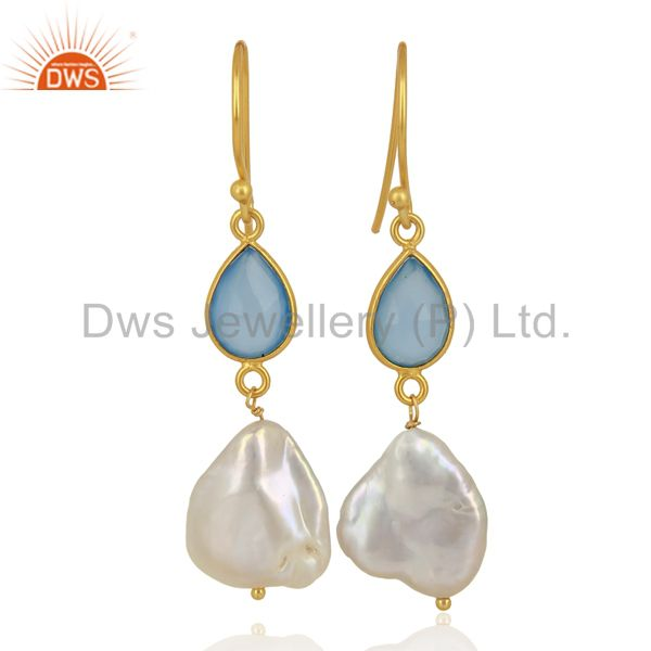 22K Yellow Gold Plated Sterling Silver Blue Chalcedony And Pearl Drop Earrings