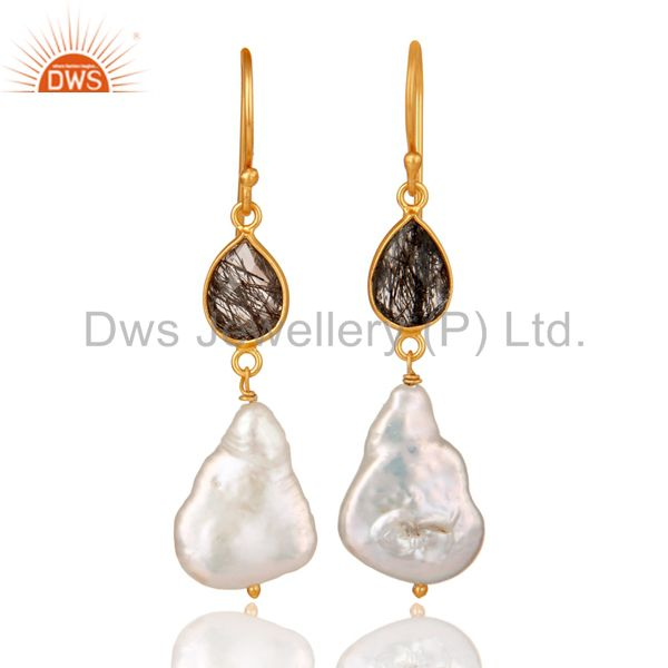 22K Yellow Gold Plated Sterling Silver Black Rutile And Pearl Drop Earrings