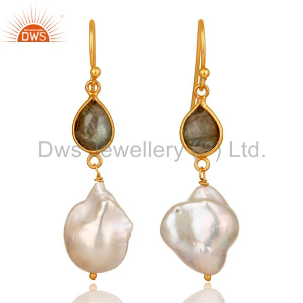 22K Yellow Gold Plated Sterling Silver Labradorite And Pearl Drop Earrings