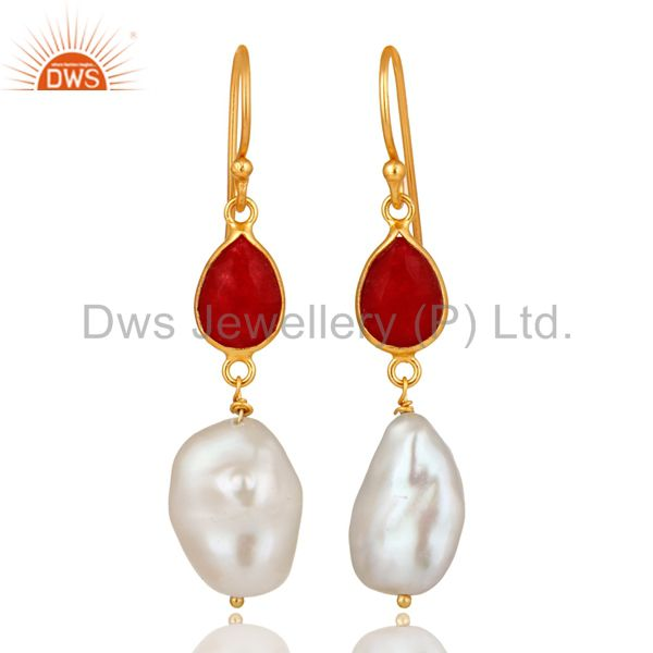 18K Yellow Gold Plated Sterling Silver Red Aventurine And Pearl Dangle Earrings