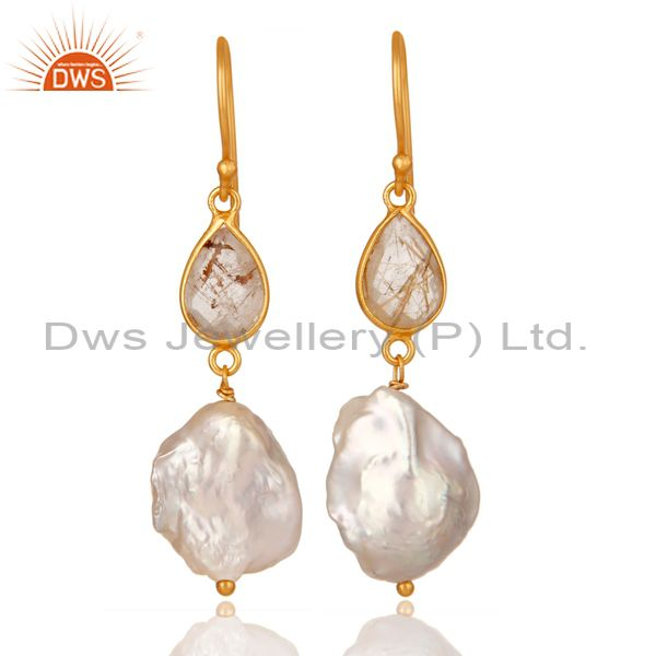 22K Yellow Gold Plated Sterling Silver Yellow Rutile And Pearl Drop Earrings