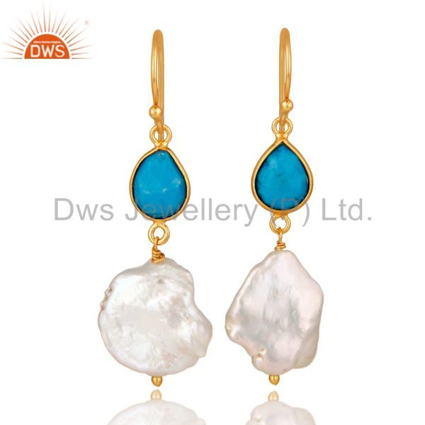 Turquoise and Pearl 22K Yellow Gold Plated Sterling Silver Drop Earrings