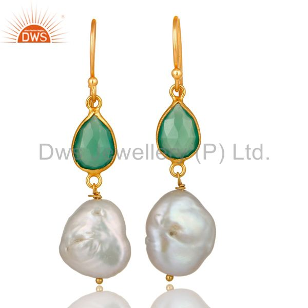 18K Yellow Gold Plated Sterling Silver Green Onyx And Pearl Dangle Earring