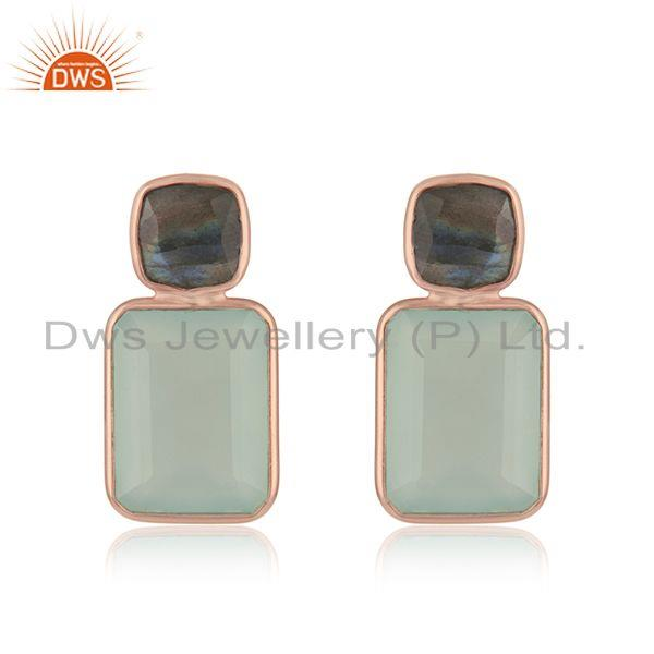 Rose Gold Plated Silver Labradorite Aqua Chalcedony Earring Jewelry