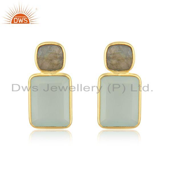 Labradorite Aqua Chalcedony Gemstone Earring Jewelry Supplier