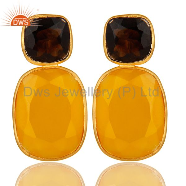 14K Gold Plated Sterling Silver Yellow Chalcedony And Smoky Quartz Earrings