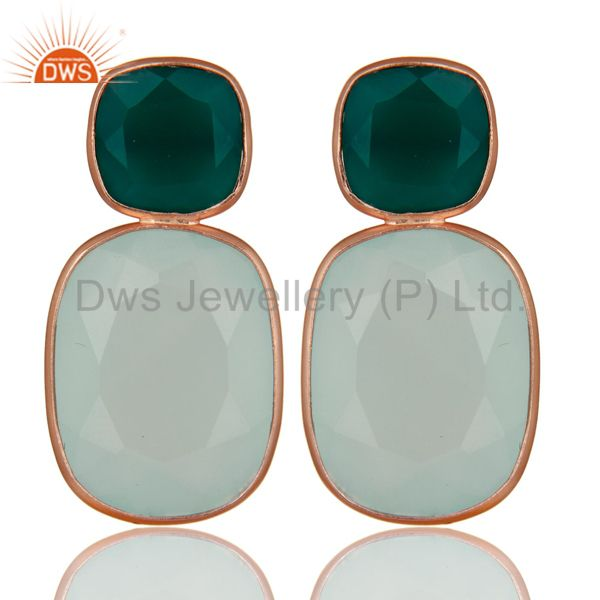 18K Rose Gold Plated Sterling Silver Green Onyx And Chalcedony Dangle Earrings