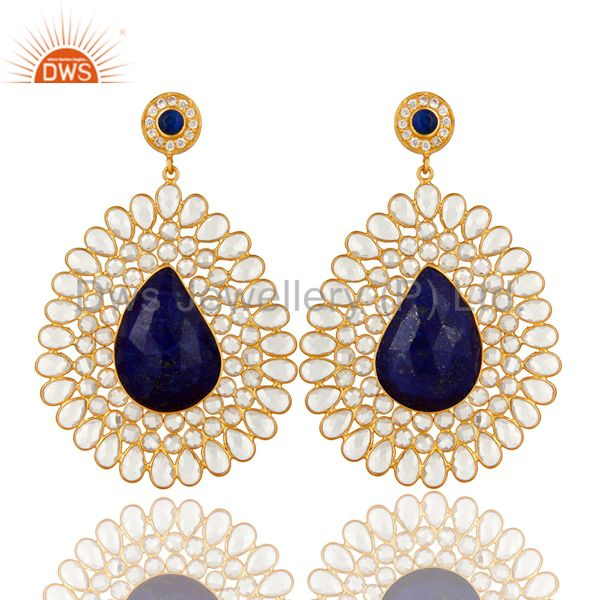 14K Yellow Gold Plated Sterling Silver Lapis Lazuli And CZ Dangle Earrings