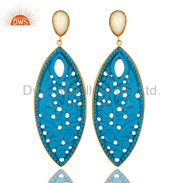 18K Yellow Gold Plated Sterling Silver Carved Turquoise And Opal Dangle Earrings