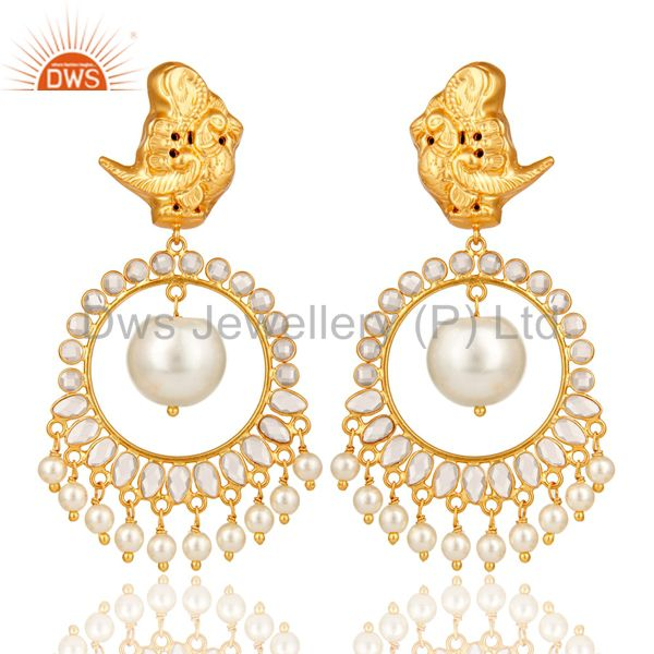 White Pearl and White CZ Sterling Silver 18K Gold Plated Chandelier Earring