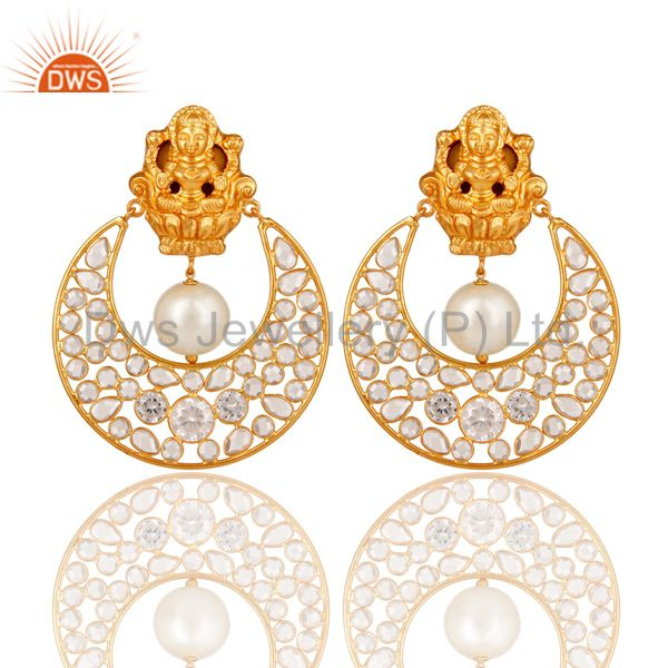 18K Gold Plated Pearl and White CZ Sterling Silver Chand Bali Stud Earring