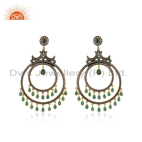 Green Onyx and White CZ 18K Gold Plated Sterling Silver Traditional Stud Earring