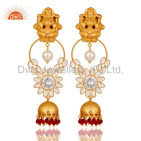 18K Gold Plated Sterling Silver Coral, Pearl and CZ Earring Temple Jewelry