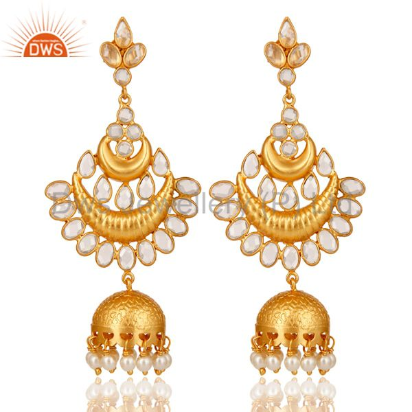 White Pearl and Cubic Zircon 18K Gold Plated Sterling Silver Jhumki Earring
