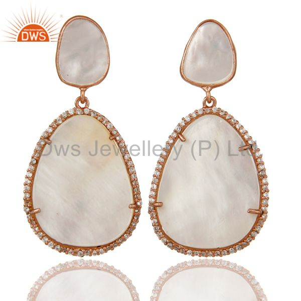 Mother of Pearl MOP Rose Gold Plated Sterling Silver Drop Dangle Earring