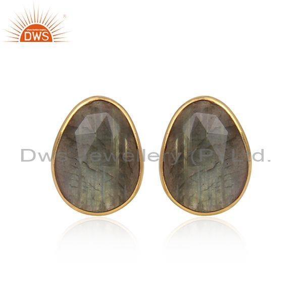 Oval Labradorite Set Gold On Silver Fancy Casual Earrings